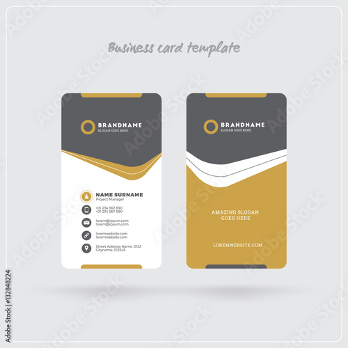 Vertical Business Card Template | Golden And Gray Vertical Business Card Print Template Double Sided