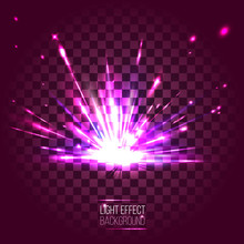 Light Effect Lens Purple Explosion On Transparent Background. Ve