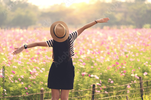 Beauty Girl Outdoors Enjoying Nature Beautiful Teenage Model Girl In Black Dress Standing On The Spring Field Sun Light Freedom Concept Buy This Stock Photo And Explore Similar Images At Adobe