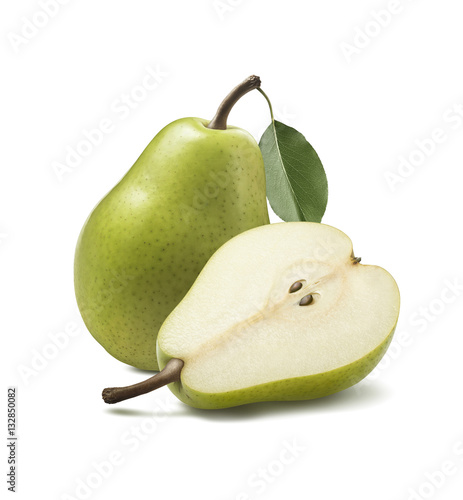 Green anjou pear whole half isolated on white background Wallpaper Mural