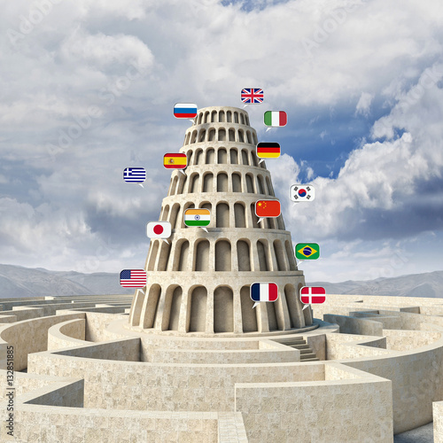 3d image of a tower with several flags of various languages Fotobehang