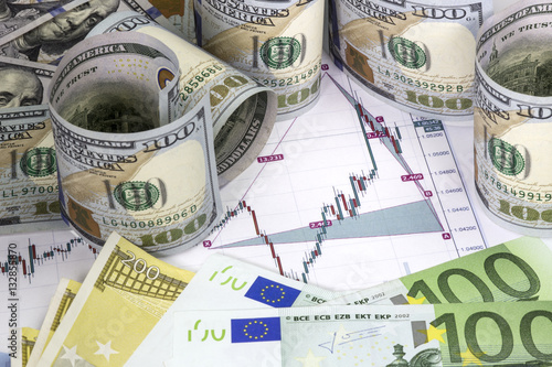 Euro Dollar Currencies Prices Diagram Bills Rolled Hundred Us Dollars Staying On The Chart Part Of With Flag 100 And 200 Banknotes
