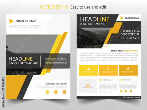 yellow black vector business proposal leaflet brochure flyer template design book cover layout design