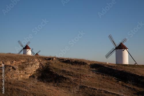 Foto  Campo con molinos de viento