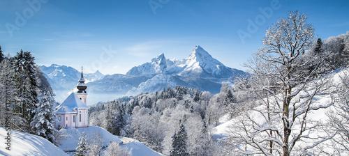 Foto-Leinwand ohne Rahmen - Church of Maria Gern with Watzmann in winter, Berchtesgadener Land, Bavaria, Germany (von JFL Photography)