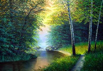 Obraz Oil painting landscape