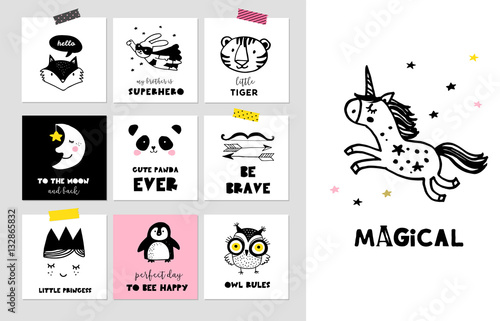 Scandinavian style simple design clean and cute black white illustrations collection of