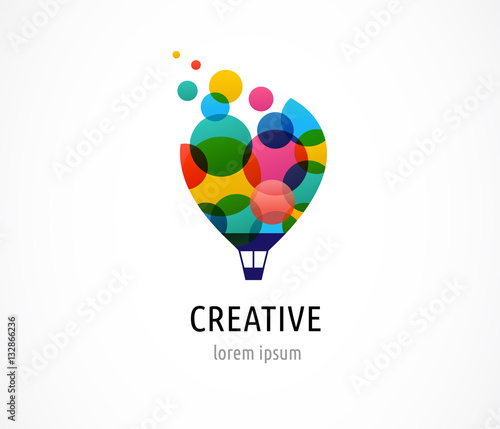 Fotografia Creative, digital abstract and children style colorful icon of hot air balloon w