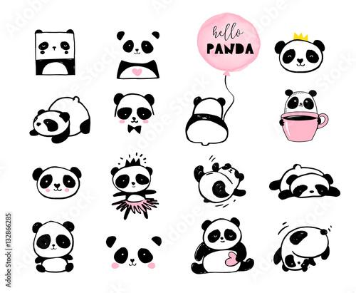 Fototapeta premium Słodkie ilustracje Miś Panda, zbiór elementów wektor ręcznie rysowane, ikony czarno-białe