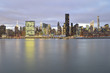 Manhattan skyline at evening.