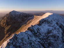 Aerial View Of Mount Snowdon And Crib Goch, UK.