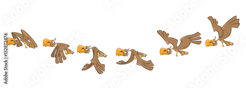 Canvas Prints Baby room Cartoon Character Eagle for a Computer Game. Storyboard