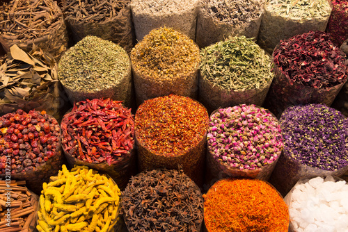 Printed kitchen splashbacks Spices Spices and herbs being sold on street stal at Morocco traditional market.