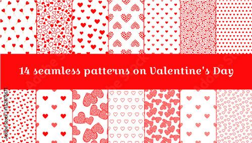 Fototapeta  Seamless pattern on Valentine's Day