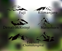 Blurred Background With Set Of Five Mountains Peaks Of World. Matterhorn. Kilimanjaro. Fuji. Denali. Everest.