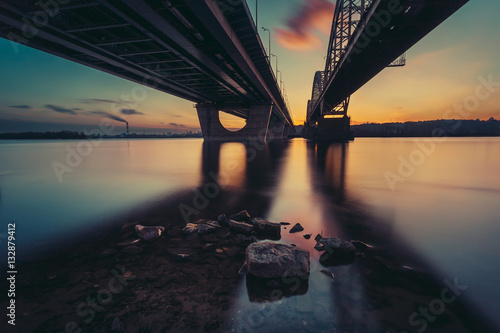 Deurstickers Stad aan het water Bridges over river Dniepr. Sunset time. Kiev. Ukraine.