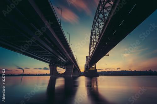 Poster Ville sur l eau Bridges over river Dniepr. Sunset time. Kiev. Ukraine.