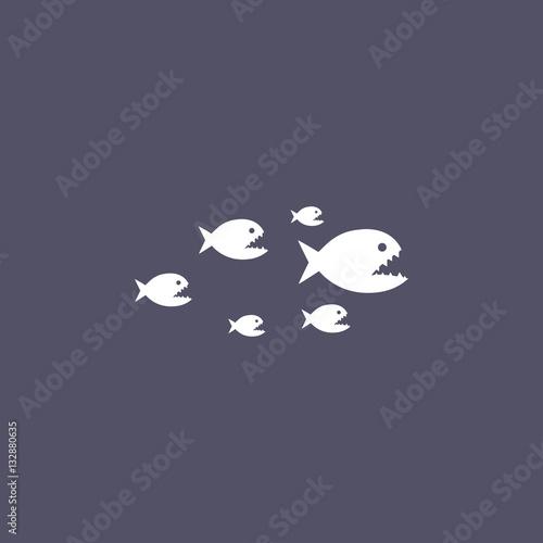 Valokuvatapetti piranha icon. animal sign