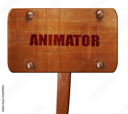 Fotografía  animator, 3D rendering, text on wooden sign
