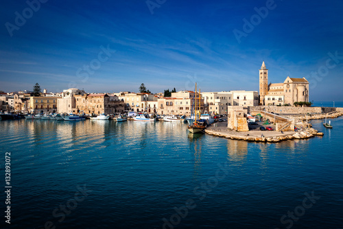 Fototapeta Trani, a mediaeval coastal a town on the sea in Apulia, Italy