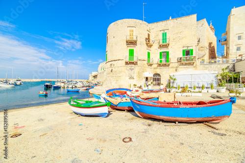 Foto auf AluDibond Stadt am Wasser Fishing boats in small port Giovinazzo near Bari, Apulia, Italy