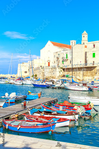 Printed kitchen splashbacks City on the water Fishing boats in small port Giovinazzo near Bari, Apulia, Italy