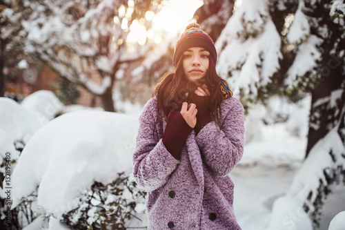 Recess Fitting Fantasy Landscape Stylish girl walking the street in winter