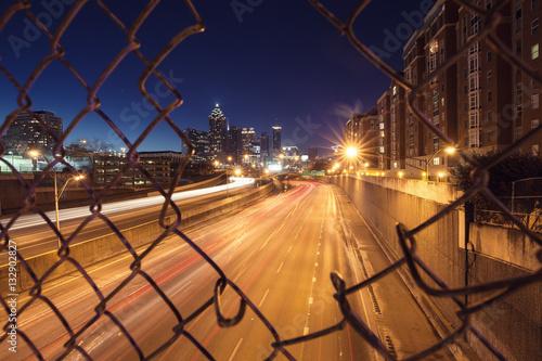 Plakat Noc panoramę miasta Atlanta