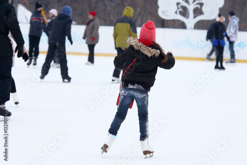 people skate on the ice rink Poster