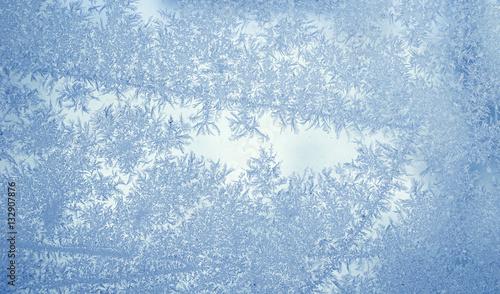 Fotografie, Obraz  frost crystal on window glass in winter season
