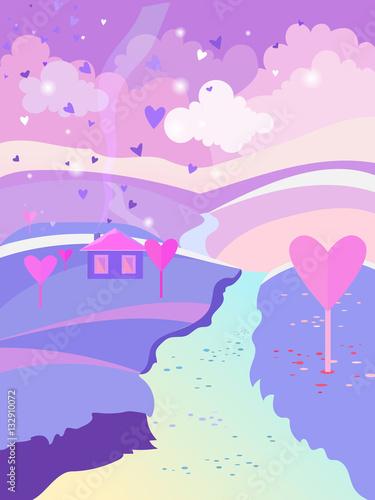 milosna-kraina-z-rzeka-i-serduszkami-w-fioletowych-barwach