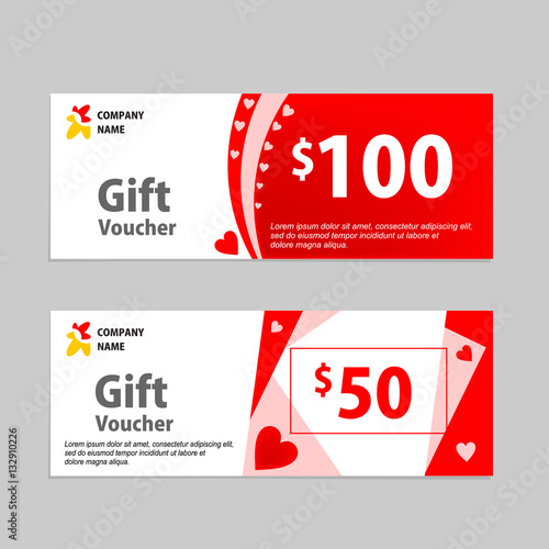 Valentine Gift Voucher Card Template Design Concept For Retail