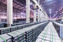 Lead Ingots In A Factory Warehouse