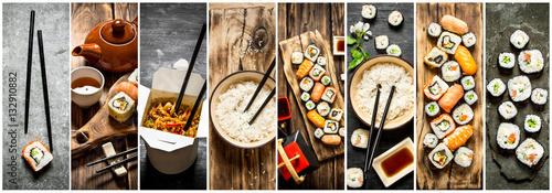 Poster Sushi bar Food collage of japan food.
