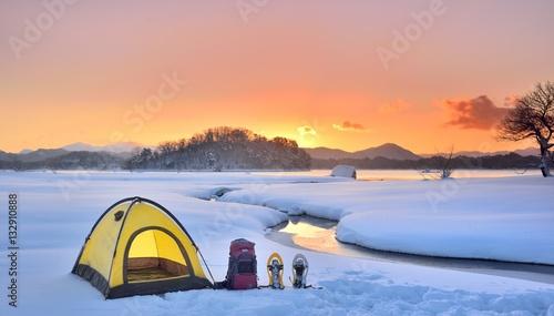 Fotografie, Obraz 雪原のキャンプ風景