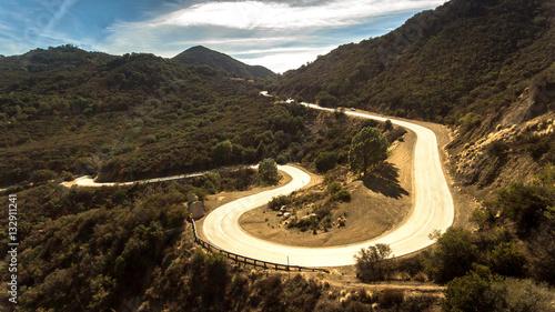 Spoed Foto op Canvas Grijze traf. Mulholland Highway - Snake Highway Aerial