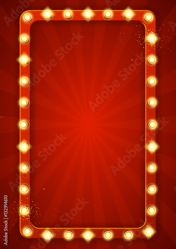 Red retro frame with lamps. Vector illustration with shining lights in vintage style. Label for winners of poker, cards, roulette and lottery.