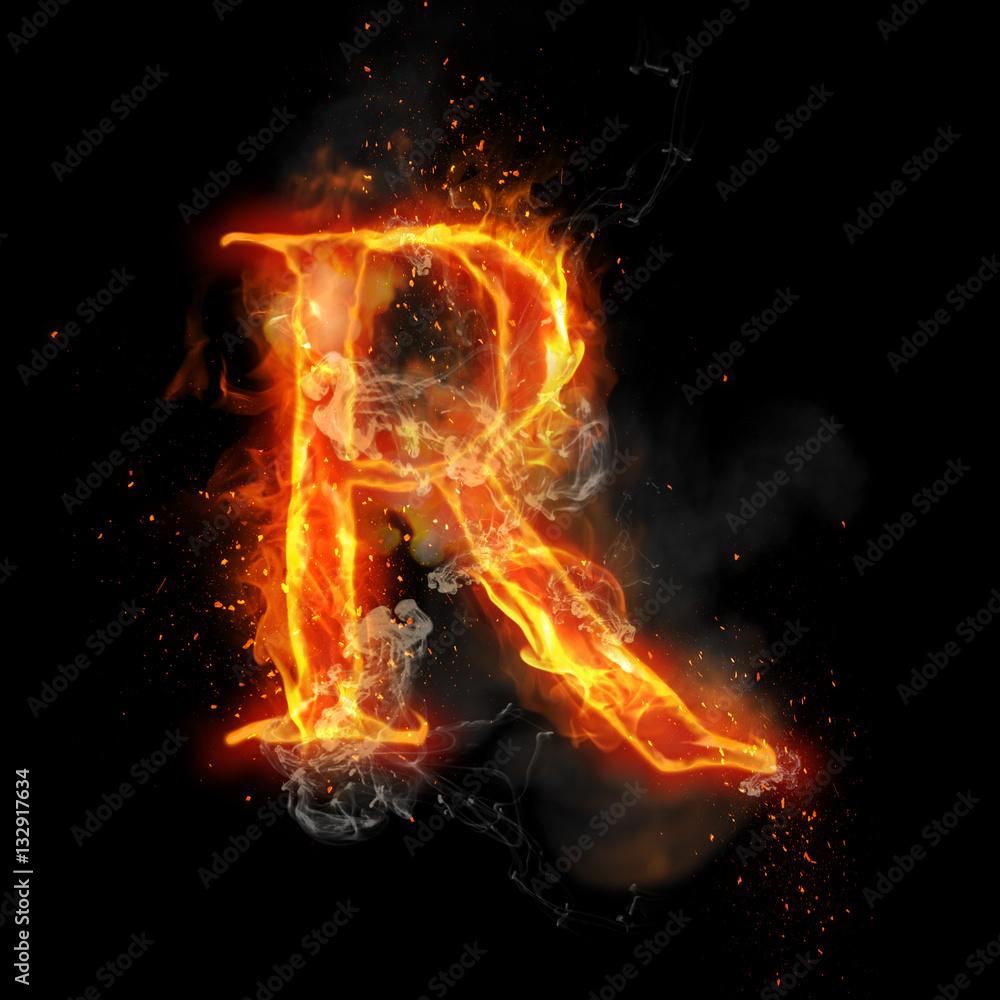5424d5046233 Photo   Art Print Fire letter R of burning flame light