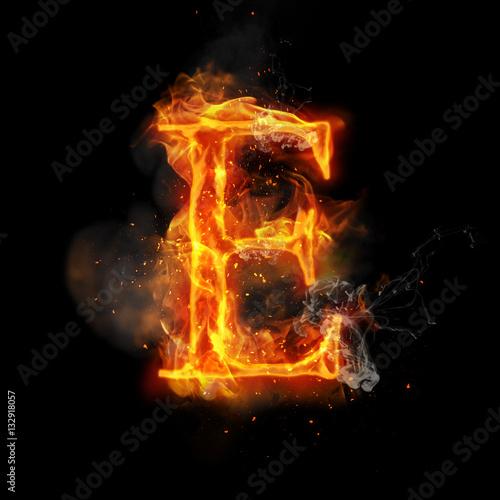 In de dag Vuur / Vlam Fire letter E of burning flame light