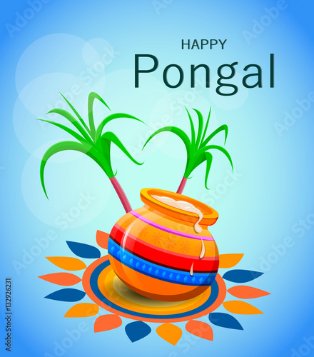 Happy pongal greeting card on blue background makar sankranti happy pongal greeting card on blue background makar sankranti poster vector illustration m4hsunfo