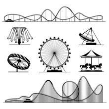 Amusement Ride Or Luna Park Roller Coasters Entertainment Vector Set