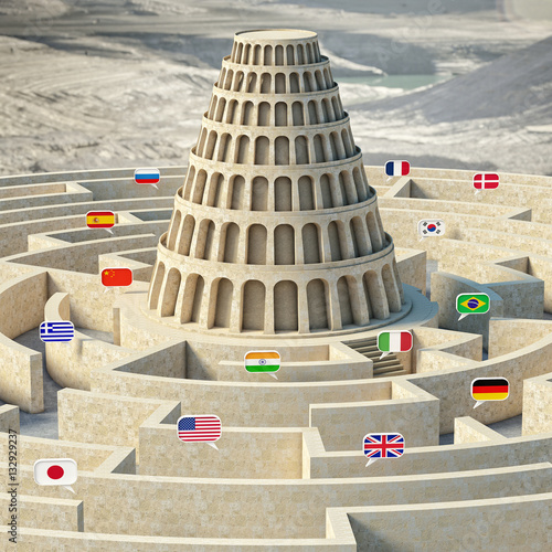 3d image of a tower with several flags of various languages Canvas Print