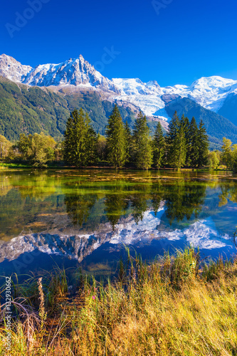 Foto auf Gartenposter Reflexion The lake in early autumn in Chamonix