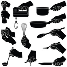 Hands With Kitchen Tools Collection - Vector Silhouette Illustration