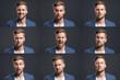 canvas print picture - Mann zeigt verschiedene Emotionen