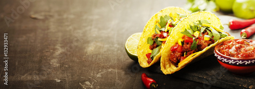 Fotografie, Obraz  Mexican tacos with meat, beans and salsa