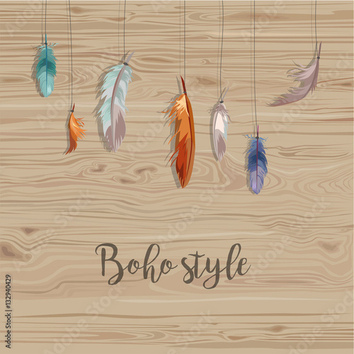 Colorful Feathers On Wood Background Beautiful Vector Illustration Template For Your