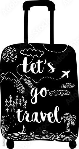 stylowa-recznie-rysowana-czarna-walizka-z-motywami-gor-lasow-samolotow-morza