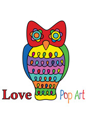 color vector pop art owl isolated on white background