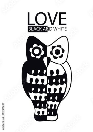 czarno-biala-sowa-ilustracja-na-bialym-tle